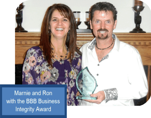 Marine and Ron with BBB Business Integrity Award