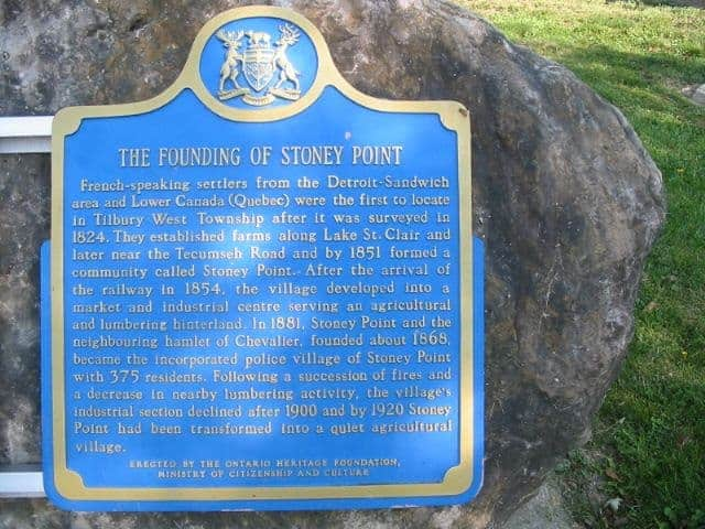 Image of Stoney Point Ontario Founding Sign