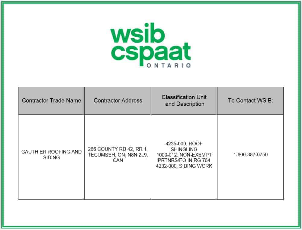 WSIB - Workplace Safety Insurance Board Certificate