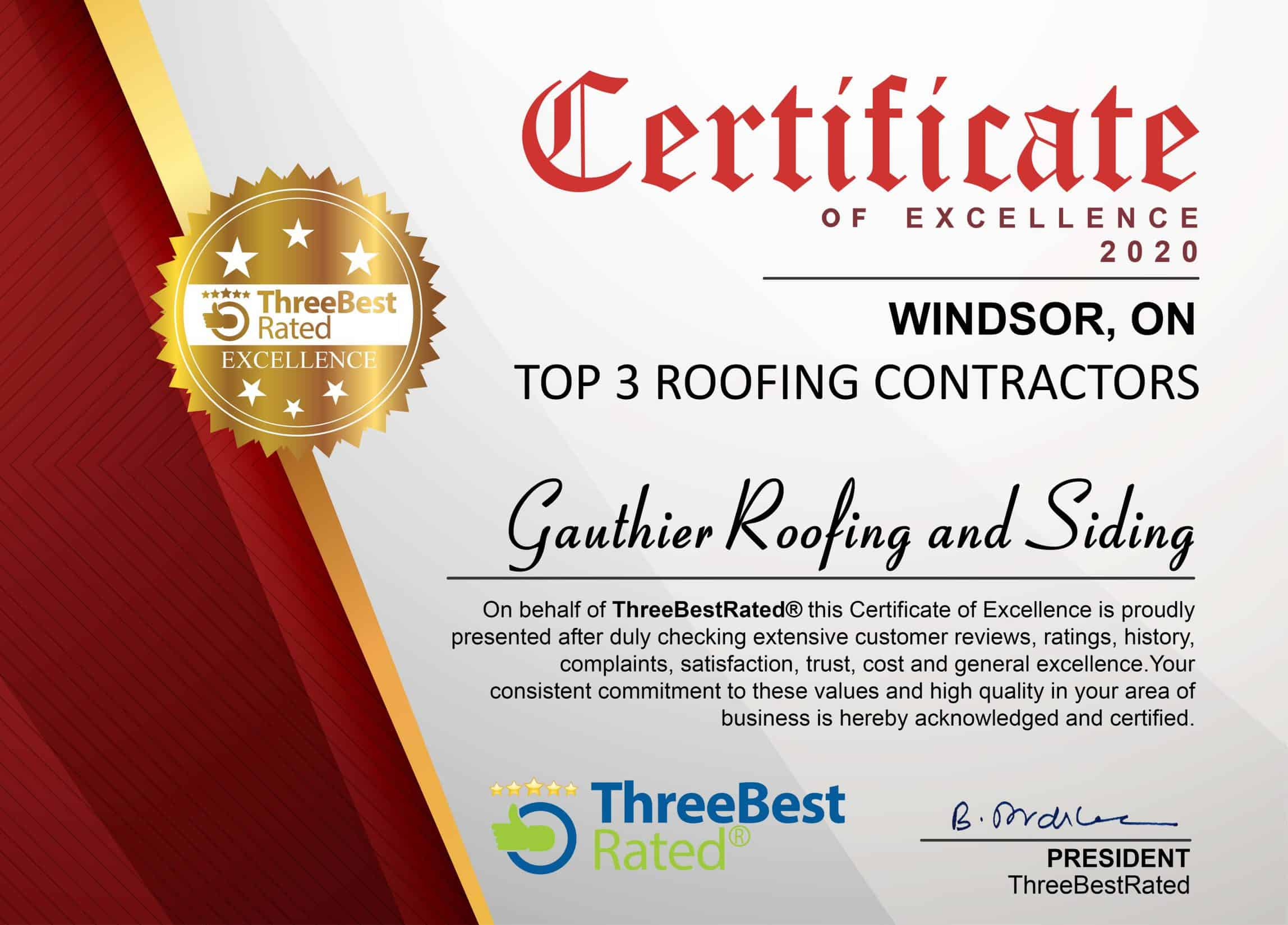 Three Best Rated Certificate - Top Roofing Contractor in Windsor