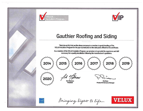 VELUX Skylight and Sun Tunnel Certified Installer Certificate